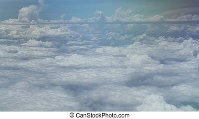 Aerial view of cumulus clouds over Moscow Region stock...