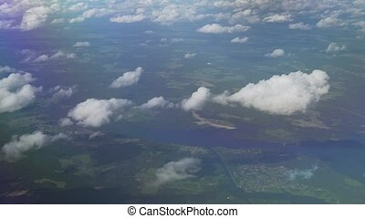 Aerial view of cumulus clouds over Moscow Region - Aerial...