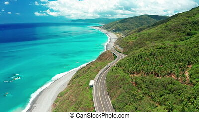 Aerial view of curves of coastal road. South link highway ,Taiwan.