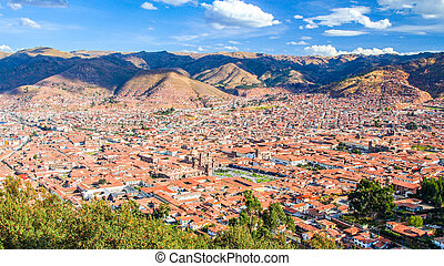 Aerial view of Cusco cityscape with Plaza de Armas, Peru, South America