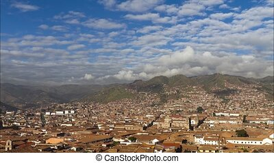 Aerial view of Cusco, Peru - Time lapse aerial view of...