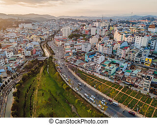 Aerial view of Dalat city. The city is located on the Langbian Plateau in the southern parts of the Central Highlands region of Vietnam.