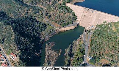 Aerial View of Dam near Pomarao