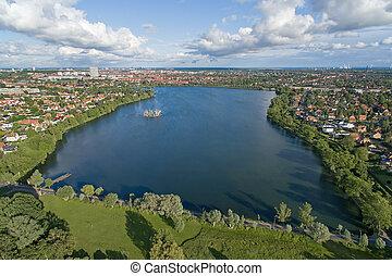 Aerial view of Damhus lake, Denmark