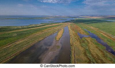 Danube Delta, Romania - aerial view of Danube Delta,...