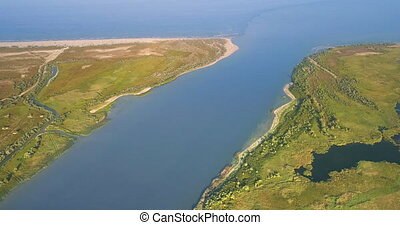 Aerial View of Danube River Mouth Flowing into the Black Sea, Sfantu Gheorghe, Romania