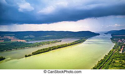 Aerial view of Danube river near Visegrad in Hungary