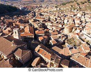 Aerial view of medieval Spanish town of Daroca with Parochial Basilica of Santa Maria de los Corporales..
