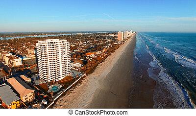Aerial view of Daytona Beach coastline, Florida