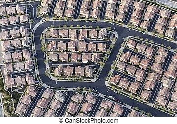 Aerial View of Dense Modern Housing in Los Angeles