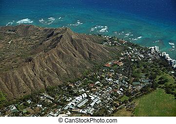 High Aerial view of Diamondhead, Kapiolani Park, the gold coast, Pacific ocean, and waves on Oahu, Hawaii. April 2016.