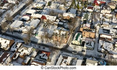 Aerial view of Dnipro city rooftops patio. Winter cityscape...