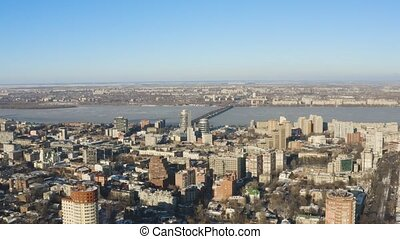 Aerial view of Dnipro city skyline. Winter cityscape...