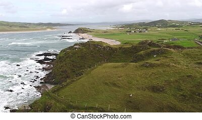Aerial view of Doagh, north coast county Donegal, Ireland.