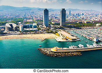 aerial view of docked yachts in Port. Barcelona