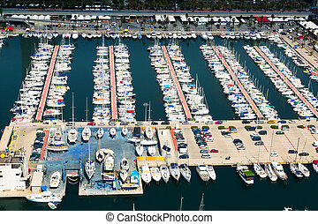 aerial view of docked yachts in Port Olimpic. Barcelona