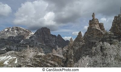 aerial view of Dolomites mountains in Italy