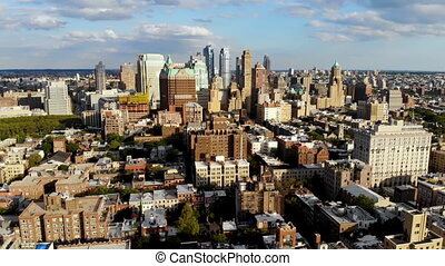 Aerial view of downtown Brooklyn with Traditional building in Brooklyn Heights. New York City. USA
