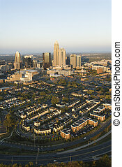 Charlotte, North Carolina. - Aerial view of downtown ...
