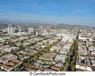Aerial view of downtown Glendale, city in Los Angeles