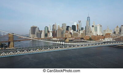 Aerial view of downtown in New York, America. Drone flying...