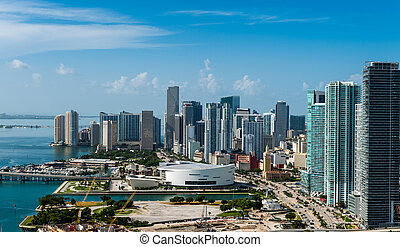 Aerial view of Downtown Miami - Aerial view of downtown ...