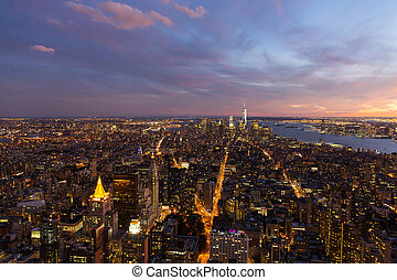 downtown New York city at night