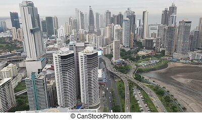 Aerial view of Downtown of Panama City in the winter. Panama...