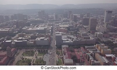 Aerial view of downtown of Pretoria, South Africa - Aerial ...