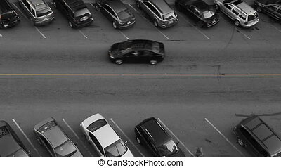 Aerial view of downtown street. Car finds parking spot. Black and white with yellow line. Saint John, New Brunswick, Canada.