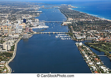 Aerial view of Downtown West Palm Beach and Palm Beach, Florida, USA