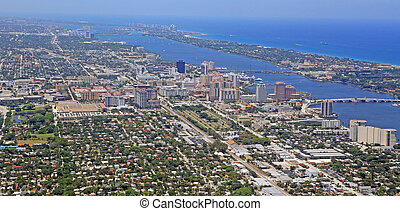 Aerial view of downtown West Palm Beach, Florida, and Palm Beach.