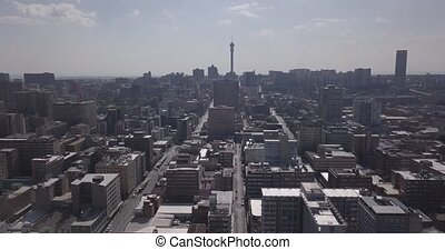 Aerial view of downtown with offices and residential ...