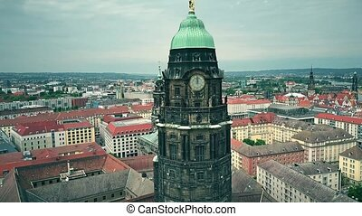 Aerial view of Dresden City Hall clock tower and the cityscape, Germany