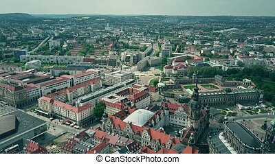 Aerial view of Dresden cityscape, Germany