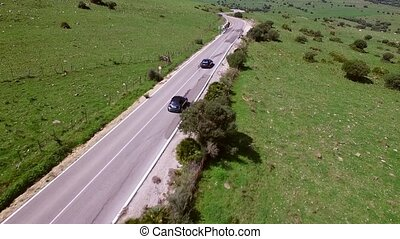 Aerial View Of Driving Car