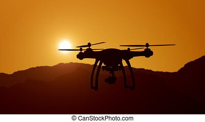 Aerial view of drone flying over mountains into the clouds during magical sunset. Super slow motion.