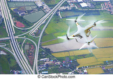 aerial view of drone photography over land transportation...