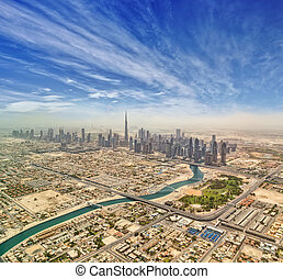 Aerial view of Dubai downtown,