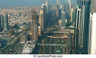 Aerial view of Dubai Downtown traffic, UAE