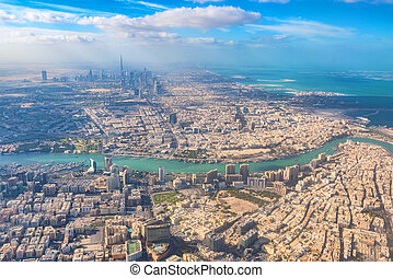 Aerial view of Dubai from airplane