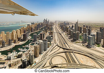 Aerial view of Dubai Marina downtown