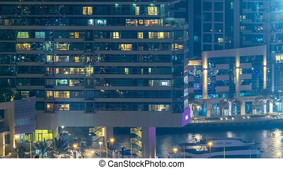 Aerial view of Dubai Marina from a vantage point night...
