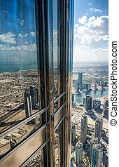 Aerial view of Dubai skyline, UAE
