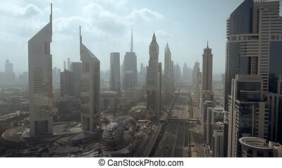 Aerial view of Dubai Trade Centre area, an elite business district. UAE
