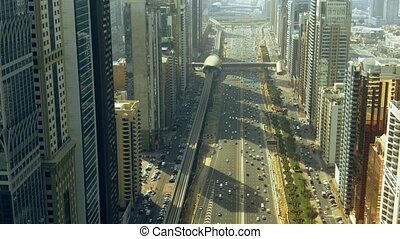 Aerial view of Dubai Trade Centre street traffic. UAE