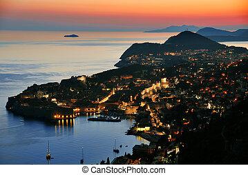 Aerial view of Dubrovnik, Croatia by night