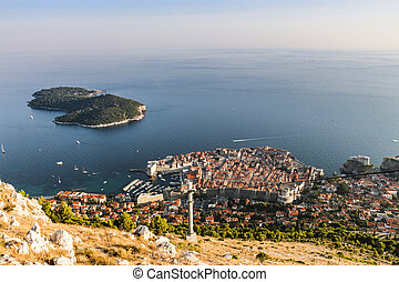 Aerial view of Dubrovnik from Srd mountain