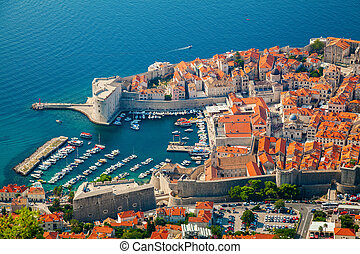 aerial view of Dubrovnik Old port