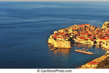 Aerial view of Dubrovnik old town, Croatia